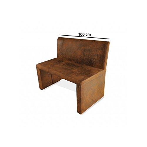 SAM® Esszimmer Sitzbank Family Wilson in brauner Wildlederoptik, 100 cm Breite, Sitzbank mit pflegeleichtem SAMOLUX® Bezug, angenehmer Sitzkomfort, frei im Raum aufstellbare Bank mit Rückenlehne