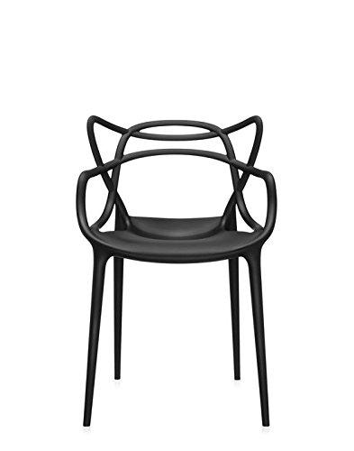 Kartell 0586609 4 Stühlen Masters, Plastik, schwarz, 55 x 83 x 53.5 cm