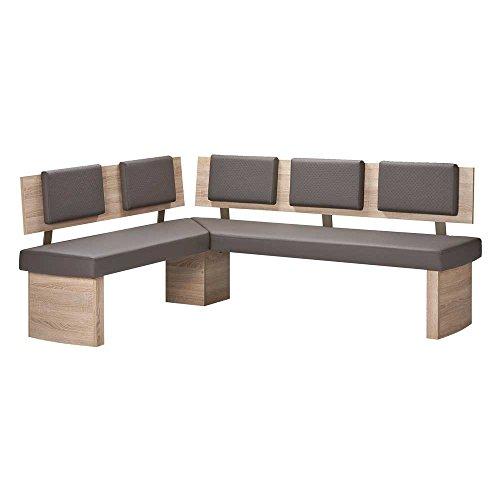Eckbank in Eiche Sonoma Braun Kunstleder Breite 165 cm Tiefe 125 cm Sitzplätze 5 Sitzplätze Pharao24