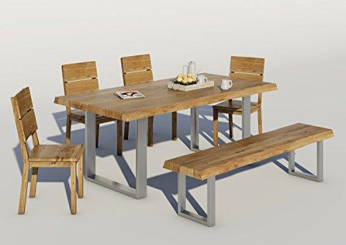 Esstisch ORK mit Baumkante Wildeiche massiv - geölt Baumtisch (200x100cm)