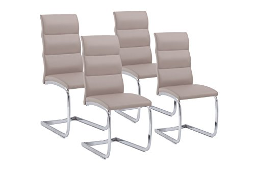 Cavadore Schwingstuhl4er Set Bow / 4 Freischwinger ohne Armlehne in elegantem Design / Lederimitat / Stühle schilf-farbend / 44 x 101 x 58 cm (B x H x T)