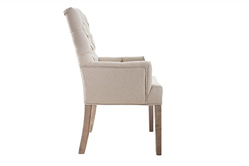 DuNord Design Stuhl Esszimmerstuhl 2er Set LYON beige Leinen Massivholz Design Polsterstuhl
