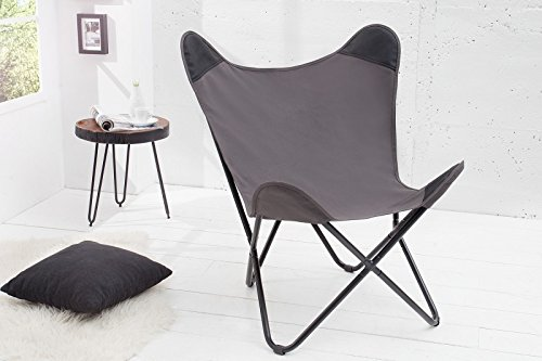 DuNord Design Sessel Stuhl TEXAS grau Leinen Loungesessel Esszimmer Butterfly Klappstuhl