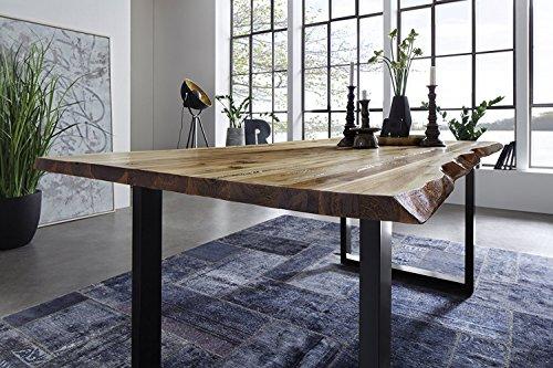 SAM® Stilvoller Esszimmertisch Ida aus Akazie-Holz, Baumkantentisch mit schwarz lackierten Beinen aus Roheisen, naturbelassene Optik mit einer Baumkanten-Tischplatte, 160 x 85 cm