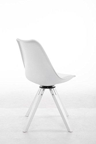 CLP Design Retro-Stuhl TROYES SQUARE, Kunststoff-Lehne, Kunstleder-Sitz gepolstert drehbar Weiß, Holzgestell Farbe weiß, Bein-Form eckig