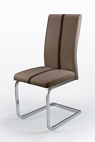 Cavadore Schwingstuhl 4-er Set Enzo / Freischwinger ohne Armlehne in modernem Design / Lederimitat / Stuhlset Cappuccino-farben mit dunkelbrauner Applikation / 52 x 43 x 100 cm (T x B x H)