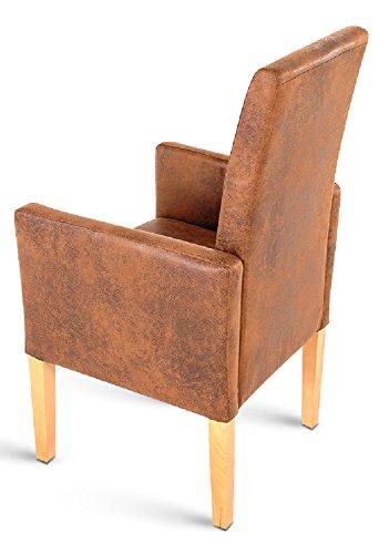 SAM Esszimmer Armlehnstuhl Serano, Stuhl in brauner Wildlederoptik mit buchefarbenen Beinen, angenehme Polsterung dank Samolux®-Kunstleder, pflegeleicht