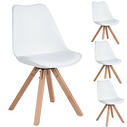 4 Stück Kunstleder Esszimmer Bürostuhl mit Massivholz Beine, Armless Mid Rücken Unterstützung Kunstleder Gepolstert Stühle - Weiß