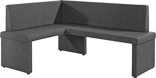 Cavadore Eckbank rechts Mulan / Moderne Sitzbank mit Lehne in Anthrazit / Pflegeleichtes Lederimitat / 125 x 165cm / Höhe: 82cm / Tiefe: 54cm
