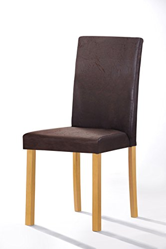 SAM® Polster-Stuhl Billi, Esszimmer-Stuhl, Antik-Optik, dunkelbraun, massive Holzbeine in Buche, Design-Stuhl, Küche und Esszimmer