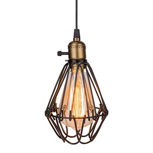 Eletorot Vintage Metall Pendelleuchte Hängeleuchte Hängelampe Lampengestell in Vogelkäfiger Form für Loftwohnung, Bar, Küchen, Hausdeko schwarz