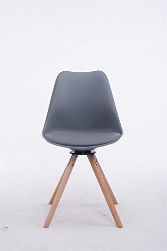 clp design retro stuhl troyes rund kunststoff lehne kunstleder sitz drehbar gepolstert grau. Black Bedroom Furniture Sets. Home Design Ideas