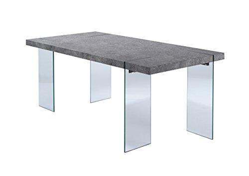 Cavadore Tisch Nova / Moderner Esstisch in Beton-Optik mit Glasfüßen / Resistent gegen Schmutz / 190 x 95 x 75 cm (L x B x H)