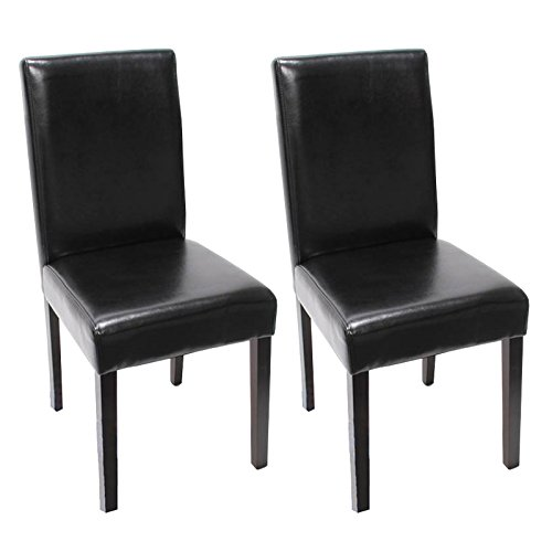 4x Esszimmerstuhl Stuhl Lehnstuhl Littau ~ Leder, schwarz dunkle Beine