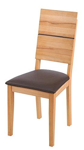 SAM® Esszimmerstuhl Hugo, Kernbuche geölt, mit braunem Sitzpolster, massiver Holzstuhl, pflegeleichter Stuhl