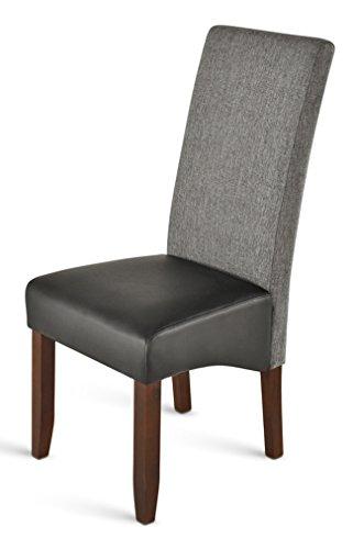 SAM® Esszimmerstuhl in grau mit schwarzer Sitzfläche und kolonial-farbigen Beinen aus Pinienholz, Stuhl mit SAMOLUX®-Bezug, pflegeleichter Stuhl mit geschwungener Rückenlehne [53258213]