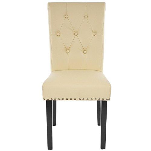 2x esszimmerstuhl chesterfield ii stuhl lehnstuhl nieten kunstleder creme dunkle beine 2. Black Bedroom Furniture Sets. Home Design Ideas