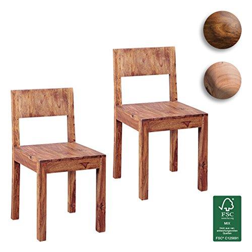 FineBuy Esszimmerstühle 2er Set Massiv-Holz Sheesham Design Küchen-Stühle 40x40cm Holzstühle braun Landhaus-Stil Essstühle mit Lehne Natur-Produkt Design Stühle mit Beine Echt-Holz unbehandelt Unikat
