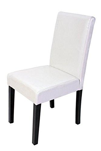 6x esszimmerstuhl stuhl lehnstuhl littau leder wei dunkle beine esszimmerst. Black Bedroom Furniture Sets. Home Design Ideas