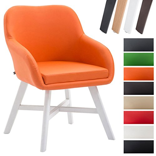 CLP Esszimmerstuhl KEPLER mit Kunstlederbezug, Wartezimmerstuhl mit Armlehnen, Besucherstuhl mit Buchenholzgestell, Küchenstuhl, Orange, Gestellfarbe: Weiß