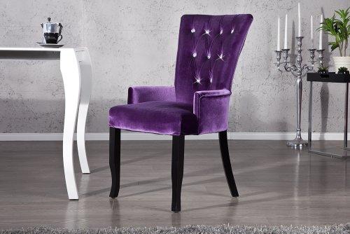 Design stuhl barocco mit armlehnen samt lila mit for Design stuhl barocco