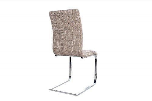 DuNord Design Stuhl Freischwinger RIVIERA Esszimmerstuhl Strukturstoff grob coffee braun Chrom