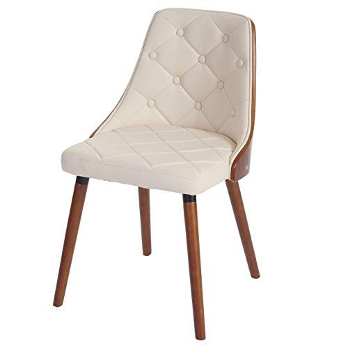 2x esszimmerstuhl osijek besucherstuhl lehnstuhl walnuss optik bugholz kunstleder creme. Black Bedroom Furniture Sets. Home Design Ideas