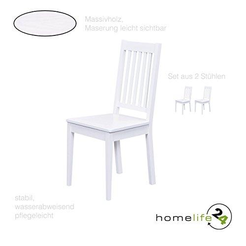 Esszimmerstühle 2er Set Massiv-Holz Küchen-Stühle Doppelpack Holzstühle Landhaus-Stil Essstühle Natur-Produkt Design Stühle aus Echt-Holz in weiss Lackiert
