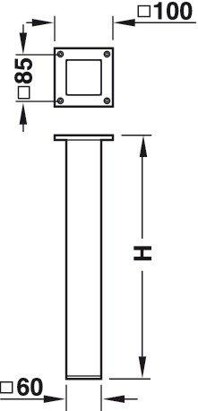 GedoTec® Alu Tischbein eckig Tischfuß gerade - Modell Mila | Aluminium rostfrei Edelstahl-Optik | Tischgestell mittig Profil quadratisch 60 x 60 mm | Höhe: 720 mm | Möbelfuss ohne Höheneinstellung | Markenqualität für Ihren Wohnbereich