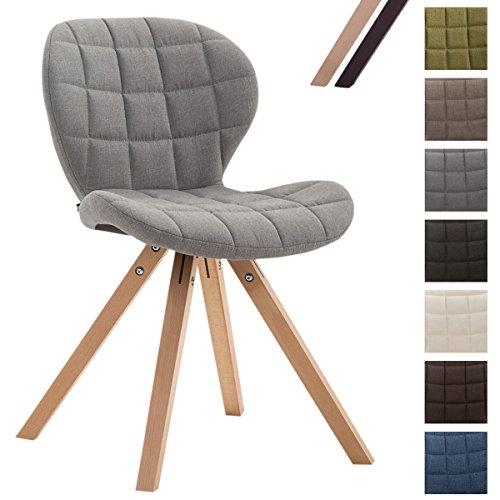 CLP Design Retro-Stuhl ALYSSA, Bein-Form square, Stoff-Sitz gepolstert, Lounge-Sessel, Buchenholz-Gestell, Hellgrau, Gestellfarbe: Natura