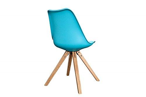 DuNord Design Stuhl Esszimmerstuhl NEW STOCKHOLM Kunstleder türkis Eiche Massiv Retro Design