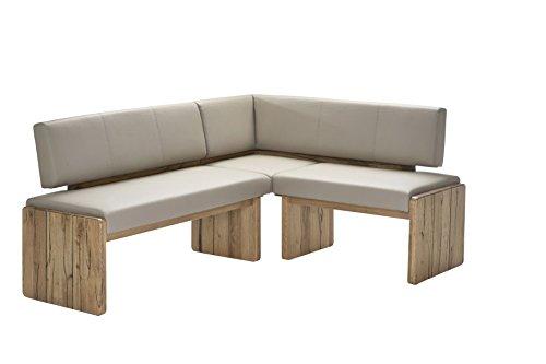 """Naturnah Möbel Eckbank """"Spring"""" aus bestem Leder und Massivholz, Wildeiche. Beste Qualität, nachhaltig produziert. (235 x 165 cm, Weinrot)"""