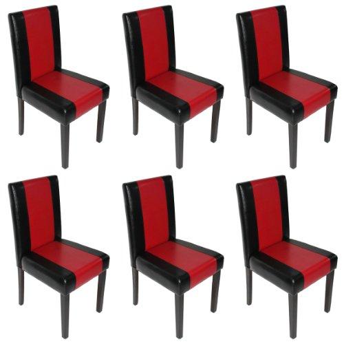 6x Esszimmerstuhl Stuhl Lehnstuhl Littau ~ Kunstleder, schwarz-rot, dunkle Beine