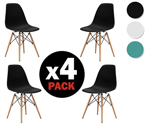 due home nordik pack 4 st hle tower stuhl replica eames finish in buche ma e 47 cm breit. Black Bedroom Furniture Sets. Home Design Ideas