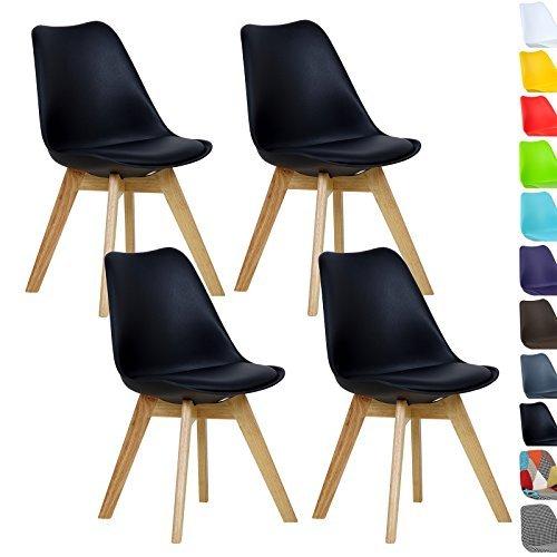 WOLTU® 4er Set Esszimmerstühle Küchenstuhl Design Stuhl Esszimmerstuhl Kunstleder Holz Neu Design Schwarz BH29sz-4