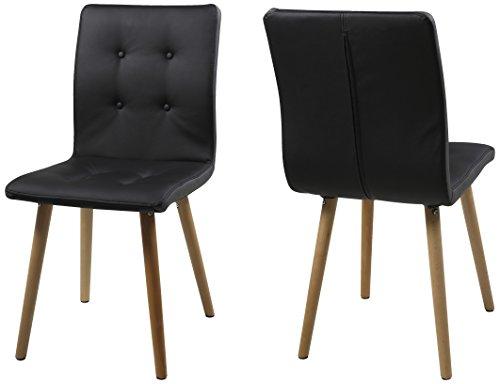 ac design furniture charlotte stuhl lederimitat schwarz 55 x 43 x 88 cm esszimmerst. Black Bedroom Furniture Sets. Home Design Ideas