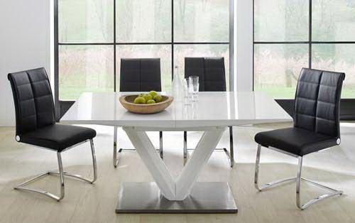 Esstisch, Ausziehtisch, Säulentisch, Küchentisch, Esszimmertisch, Tisch, weiß, Hochglanz, Synchronauszug, ausziehbar, Edelstahl, 160 x 90 cm