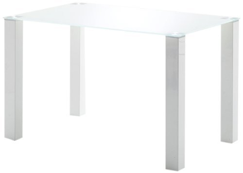 Robas Lund Tisch Küchentisch Glastisch Hanna Hochglanz weiß/ weiß 120 x 76 x 80 cm HA12HWGW