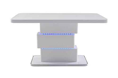 Cavadore Esszimmertisch Slice / Moderner Esstisch mit blauer LED Beleuchtung / Hochglanz Weiß / Chrom / 160x76x90 cm (LxBxH)