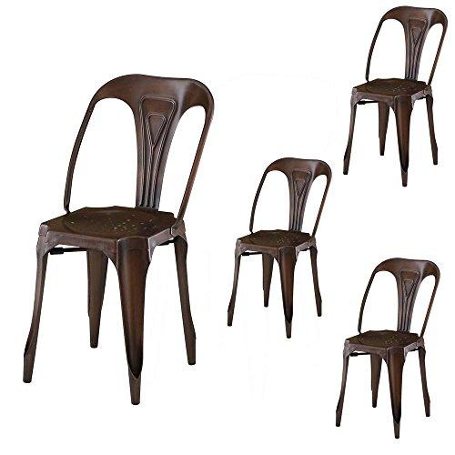 4Stück Stuhl industriellen Metall bronze indus-lot-4Stuhl industriellen Metall bronze Indus