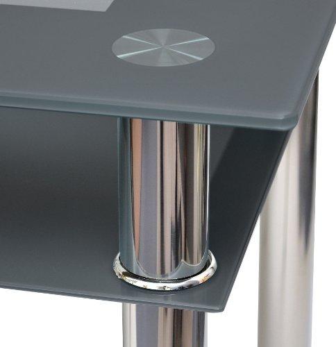 computertisch esstisch k chentisch tisch ecktisch karo schwarz grau aus edelstahl mit 10 mm esg. Black Bedroom Furniture Sets. Home Design Ideas