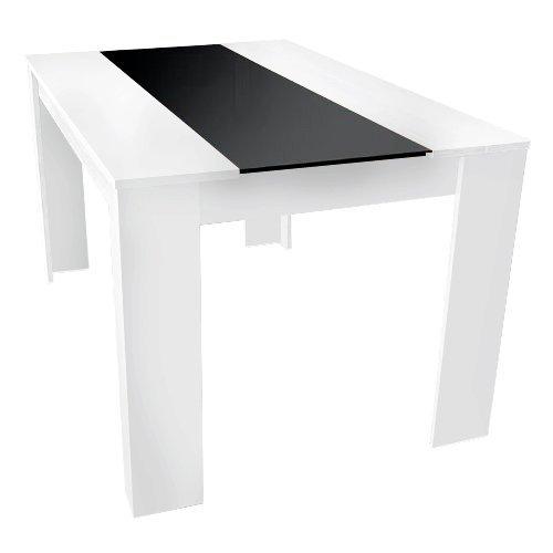 DESIGN 140 x 90 ESSTISCH Esszimmertisch Tisch weis mit Glas schwarz - mit kratzfester Melamin Beschichtung