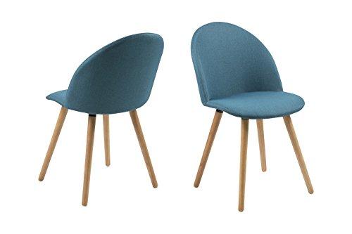 AC Design Furniture 0000067524 Esszimmerstuhl, Stoff, petrol, 54.5 x 49 x 83.5 cm