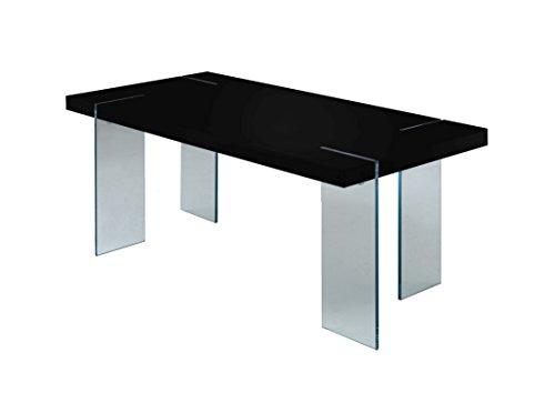 Cavadore Tisch Nova / Moderner Esstisch in Hochglanz Schwarz mit Glasfüßen / Resistent gegen Schmutz / 190 x 95 x 75 cm (L x B x H)