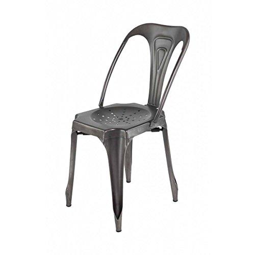 4Stück Stuhl industriellen Metall braun antik indus-lot-4Stuhl industriellen Metall braun antik Indus