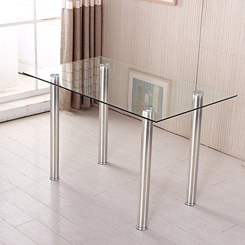 ospi geh rtetem glas esstisch mit metall beine esszimmer m bel clear glass chrome legs. Black Bedroom Furniture Sets. Home Design Ideas