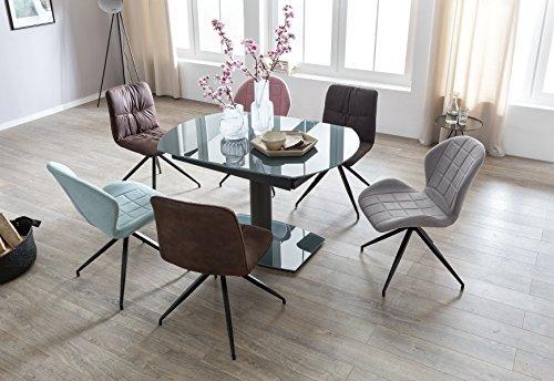 finebuy esszimmertisch noah 120 180 cm ausziehbar dunkelgrau metall glas tisch f r. Black Bedroom Furniture Sets. Home Design Ideas