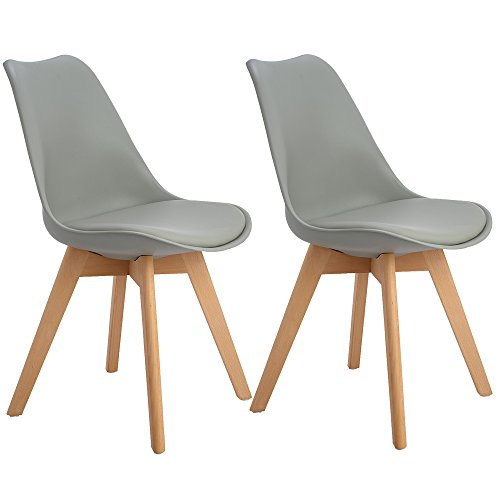 2er Set Esszimmerstühle mit Massivholz Buche Bein, Retro Design Gepolsterter lStuhl Küchenstuhl Holz, Grau