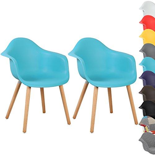 WOLTU® BH37bl-2 Esszimmerstühle 2er Set Esszimmerstuhl mit Lehne Design Stuhl Küchenstuhl Holz Blau