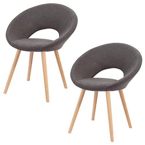 SAILUN® 2 x Esszimmerstuhl Wohnzimmerstuhl Bürostuhl Küchenstuhl, Gepolstert mit Massivholz Eiche Bein (A Type, Dunkelgrau)